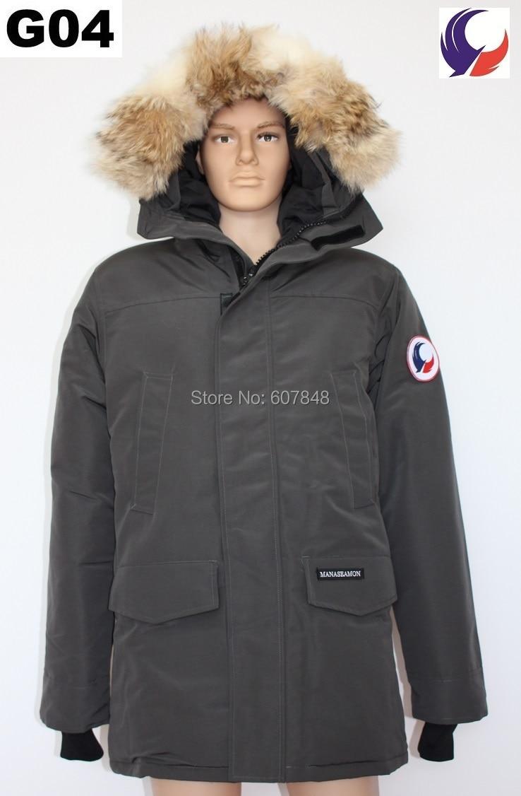 Новый бренд manaseamon Одежда высшего качества Для мужчин зимнее пальто Лэнгфорд Гусь Подпушка Перо куртка пальто большой Койот меховой воротник G04