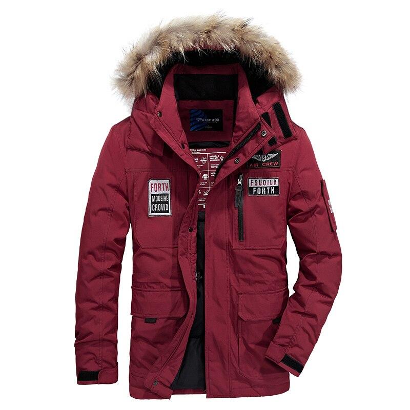M ~ 4XL automne hiver hommes raides blanc canard vers le bas vestes et manteau chaud faux col de fourrure décontracté marque-vêtements de haute qualité ZDJP