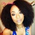 Чернокожих женщин короткие парики человеческих волос 100% виргинский бразильский волосы перед парики Glueless афро кудрявый вьющиеся парики в продаже