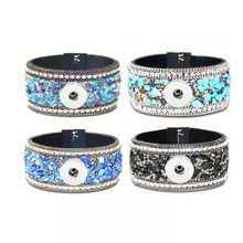Bohemia 054 Magnet Crystal Natural Stone Original Leather 18mm Snap Button Bracelet Bangle Jewelry Charm For Women