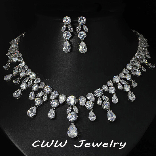 Cwwzircons Luxury Wedding Jewellery Nigerian Design Cubic Zirconia Large Bridal Choker Necklace Earrings Sets For Women T152 In Jewelry From