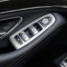 Finestra Di Vetro di Sollevamento Bottoni Copertura Trim 4 pz Per Mercedes Benz classe S W222 2014-17 In Acciaio Inox Auto porta Bracciolo Pannello di Rivestimento