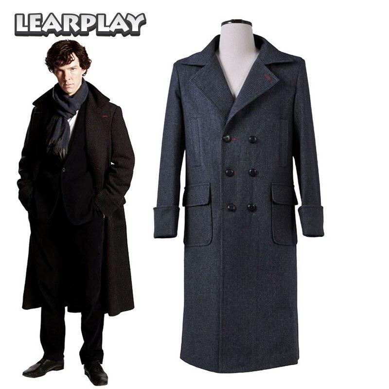 Sherlock Holmes Coat Cosplay Kostymer Man Trench Ull Varm Windbreaker - Maskeradkläder och utklädnad