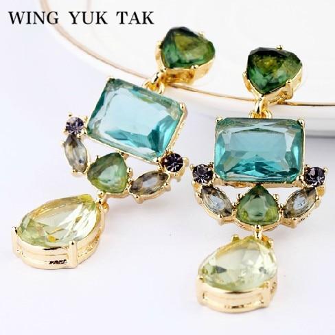 wing yuk tak Pendientes de cristal de gota de agua exquisita de moda clásica para mujeres Fábrica de joyas de boda Envío gratis al por mayor