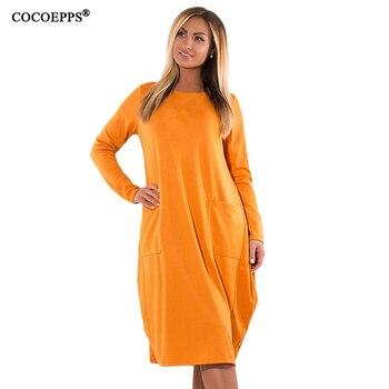 57b3f09e6ff5 COCOEPPS 2019 L-6XL Mulheres Tamanho Grande Vestido de Mangas Compridas  Outono Inverno Roupas Femininas Plus Size Amarelo Elegante Casual Vestido  Solto