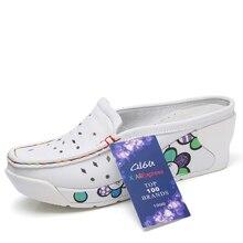 Summer Women Platform Slipper Pattern Floral Flats Breathable Leather Casual Shoes Slip-on Comfortable Nurses Shoes