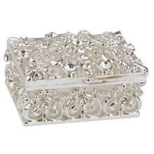 Practical Small Rhinestone Embellished Hollow Jewelry Storage Gift Trinket  Box Silver(China)
