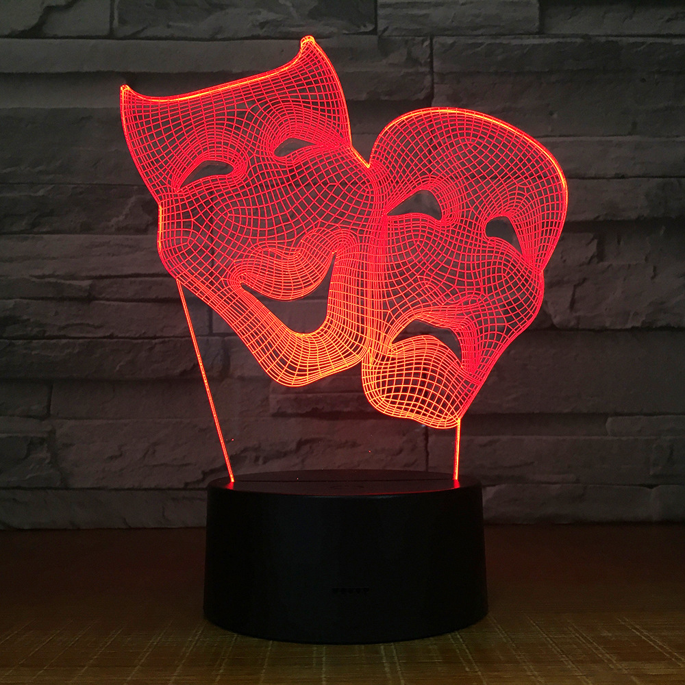 Comedy Mask Bedroom Decoration Colorful Creative Night Light Touch Remote Control Gift Led 3D Lamp Friends Gift Drop Shipping