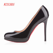 WZYCHDS Top Quality  Women Shoes Red Bottom High Heels Sexy Pointed Toe Red Sole Wedding Shoes Escarpins Semelle 11cm 806-1RB