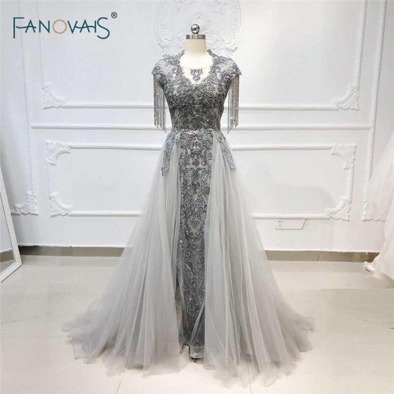 Luxury Evening Dresses Long Scoop Tassel Short Sleeve Beaded Evening Gown Tulle Grey Formal Evening Dress Vestido De Fiesta NE53