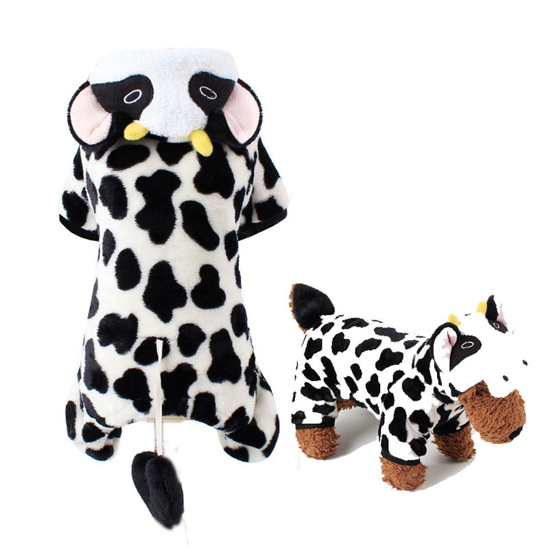 Winter Dog Clothes Milk Cow Pet Puppy Costume Coat Hoody Dog Pajamas Clothing for Small Medium Dogs Cats Party Suit Outfit