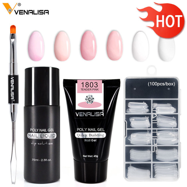 Venalisa 45 g Extend Builder Gel Double Brush Nail Tool Fake Tips thick jell gel slip solution liquid Poly nail Gel set