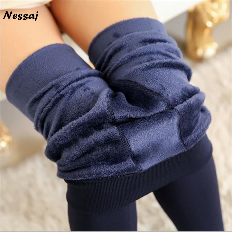 Nessaj 8 Colors 2017 Winter Women Warm Leggings Elastic High Waist Plus Velvet Faux Thick Slim Stretch Thick Trousers Female