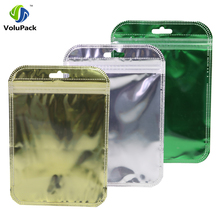 10x15cm(4x6in) Clear & Shiny Foil Gold Silver Green Hang Hole Zip Bags 100pcs Flat Gift Lock Package Bag Wholesale