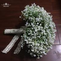 Plastic Gypsophila Babysbreath Wedding Bouquets Lace Handle 2018 Women Accessories Party Bridal Flowers For Bride Bridesmaid