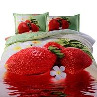 Svetanya 3D Quilt Cover Sets Strawberry Printed 4pc Bedding Set Polyester Bedlinen Queen Full Europe Size