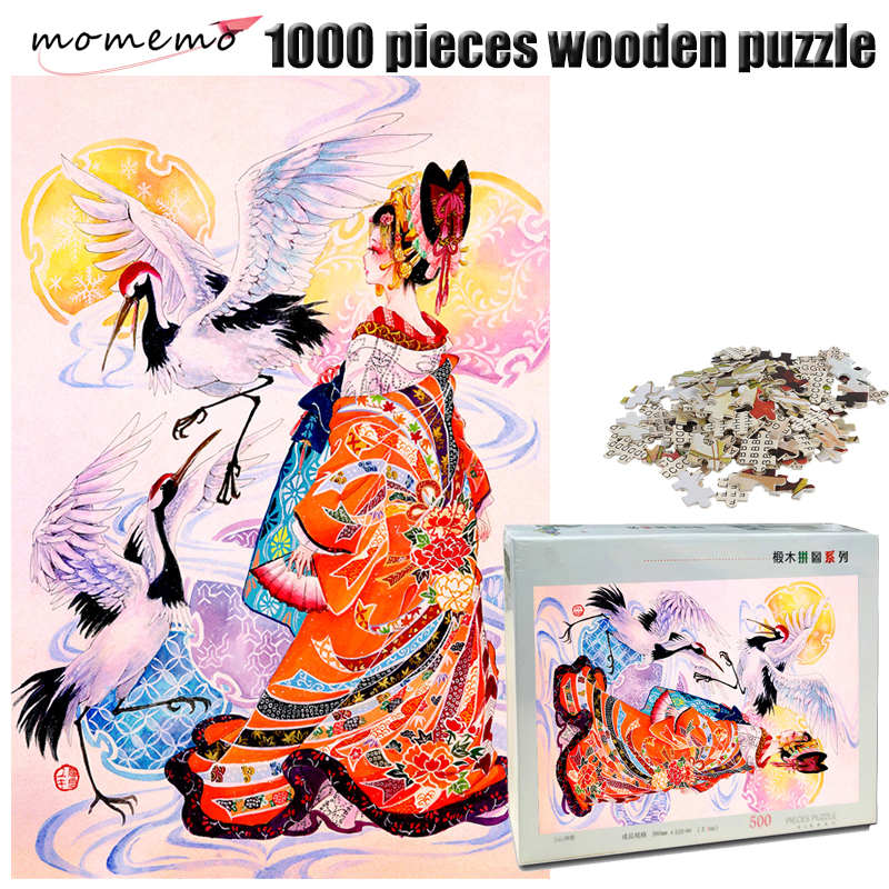 MOMEMO Crane and Girl Wooden Puzzle for Adult 1000 Pieces Jigsaw Puzzle Hand Painted Color Puzzle Children Educational Toys Gift