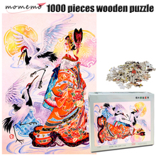 MOMEMO Crane and Girl Wooden Puzzle for Adult 1000 Pieces Jigsaw Hand Painted Color Children Educational Toys Gift
