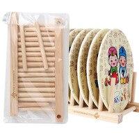 Useful Bamboo Solid Storage Holder CD Rack For Dishes Kitchen Drain Basket Shelves Storage Shelf CD