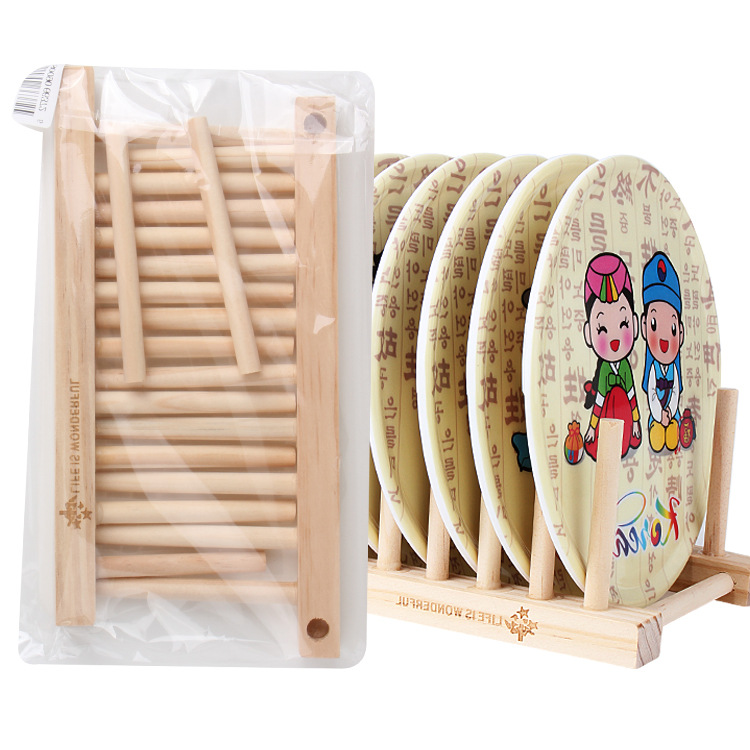 Useful Bamboo Solid Storage Holder CD Rack For Dishes