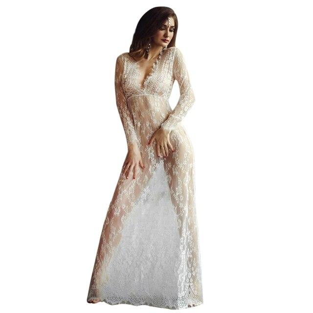 Vestido blanco largo transparente