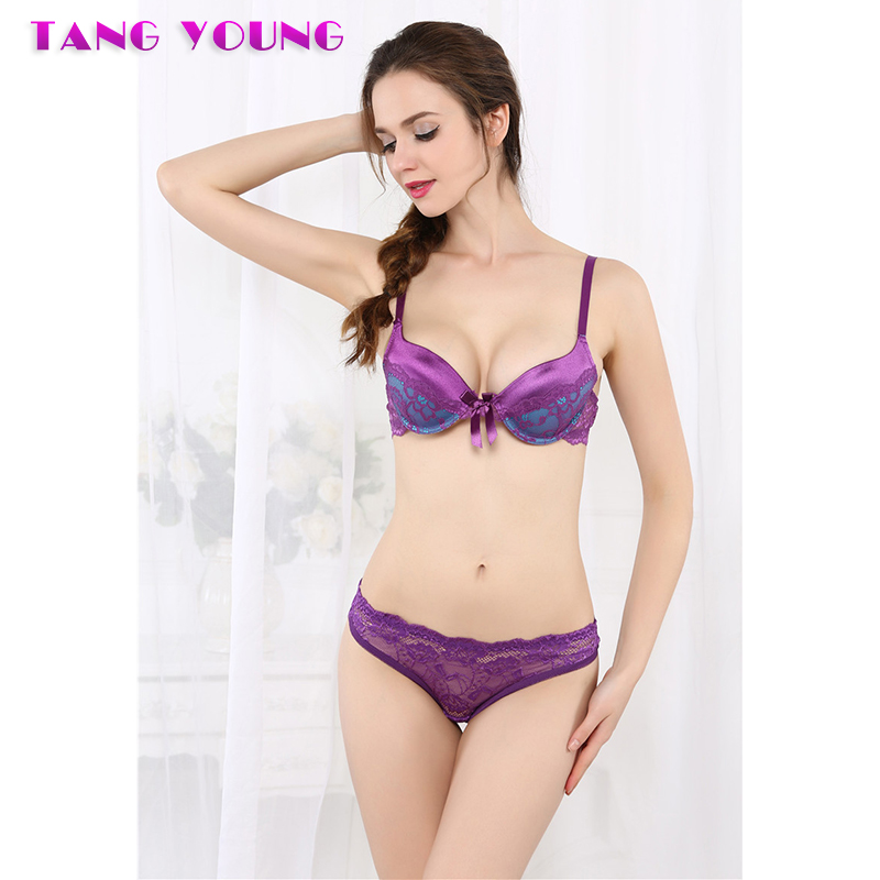 TANG YOUNG New Lace Lingerie   Bra     Set   Gather Adjustable Women intimates   sets   Sexy Lingerie Push Up Plus size   bra   and panty   sets