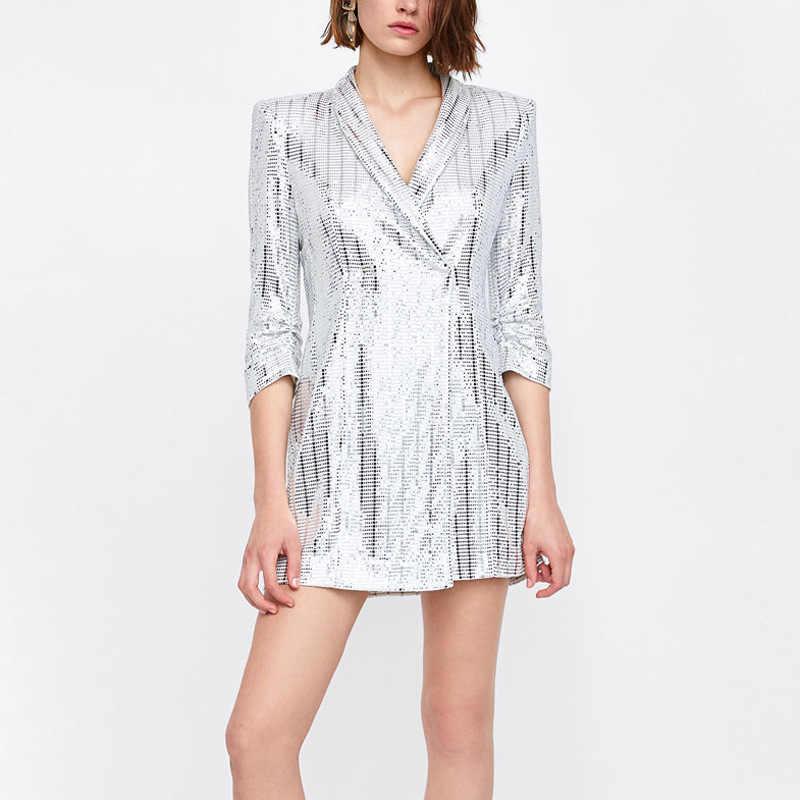 NEW Summer Metallic Silver Sequined Blazer Five-Point Sleeve V-Neck Mini Dress  Women 22e5a8522c7e