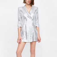 NEW Summer Metallic Silver Sequined Blazer Five Point Sleeve V Neck Mini Dress Women Vestido Fashion Clothes vestidos mujer 2018