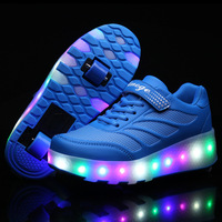 2017 Spring Summer Children Pulley Shoes With Double Wheels LED Switch Adult Light Shoes Fashion Walking
