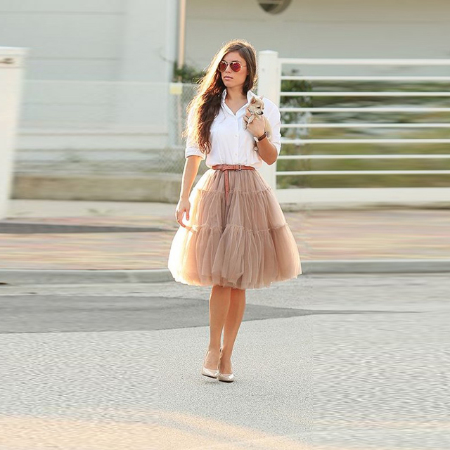 b3dc15ec0 Khaki Tutu Skirt Knee Length A Line Puffy Tulle Skirt Hot Sale Women Skirts  With Lining Fashion Street Style Outfits