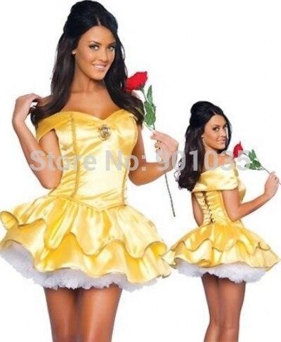 БЕСПЛАТНАЯ ДОСТАВКА горячей продажи красавица и чудовище косплей карнавальный костюм дети belle платье принцессы на Рождество Партии размер 8-16