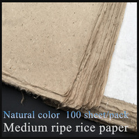 100 sheet/pack Natural Color Painting Paper Chinese Calligraphy Feather edge Rice Paper Xuan Paper Paintting Supply