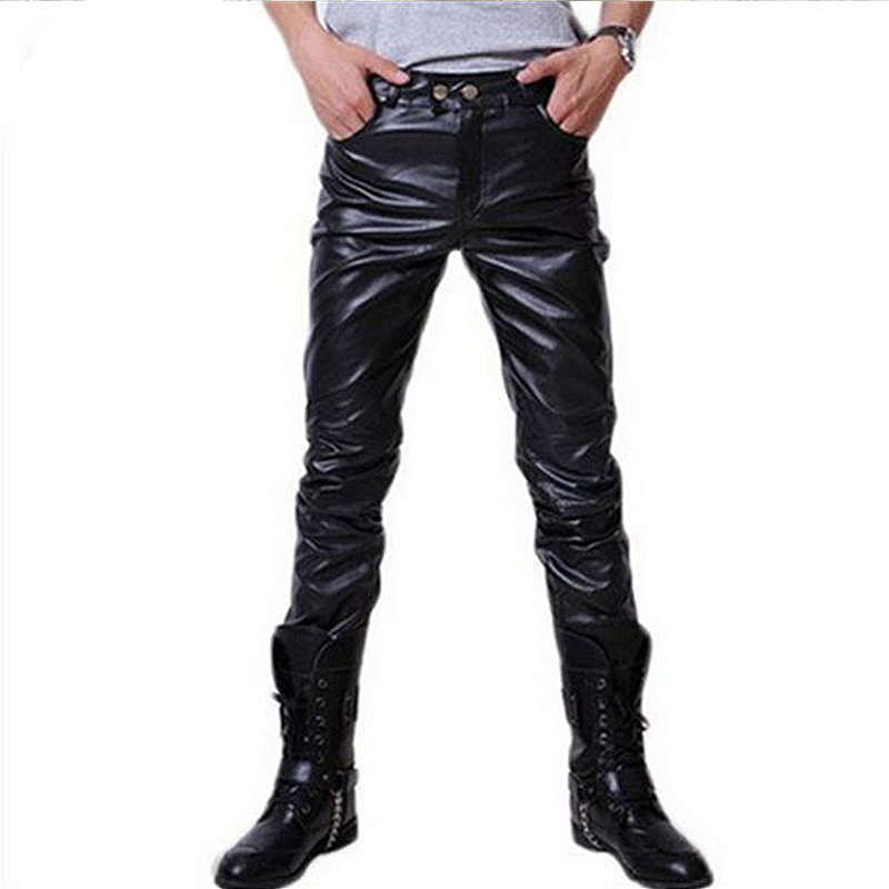 Spring And Autumn New Korean Fashion Personality Leather Pants Training Multi-color Thin Section Street Men's Motorcycle Pants