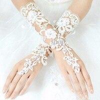 YU1506 Fingerless Wedding Gloves For Women White Ivory Lace White 2016 Cheap Appliqued Up Wrist Bridal