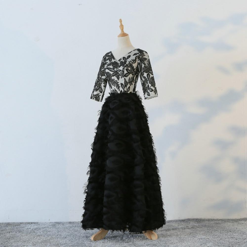 JaneVini 2018 nouveau noir col en v femmes soirée robes formelles pailletées 3/4 manches longueur au sol longue mère de la mariée robes - 2