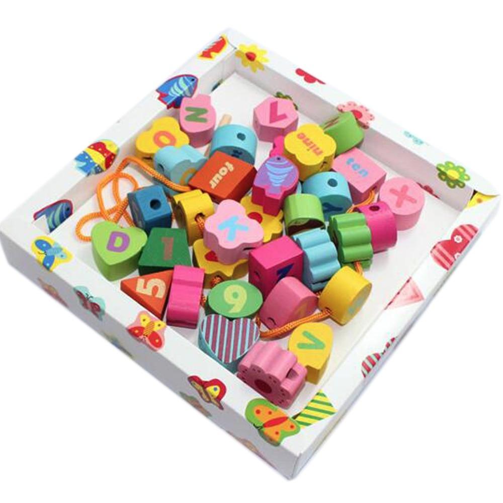✓Montessori de madera Deluxe cordón Cuentas en una caja de colores ...