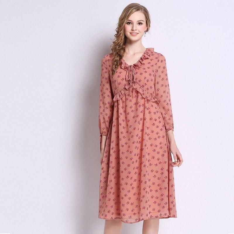 New2019 Spring Floral Chiffon dress plus size cute Dress female Ruffled collar with bow elegant midi