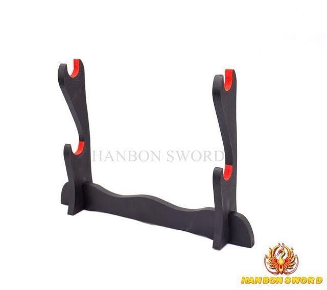 Japanese Samurai Sword Hard Wooden Stand for Katana Wakizashi Tanto High Quality Black & Red Swords Display Rack  2 Layers