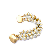 Chunky Trendy Jewelry For Elegant Ladies Simulated Pearl Bracelet Magnet Clasp Beaded Bracelet Bangles