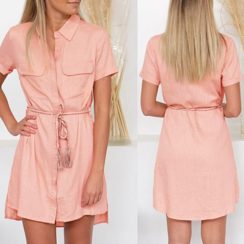 Womail Pocket Button Design Solid Color Sweet Style Short Sleeve Polyester Material Summer Hot Soft Dress Women 19APR01