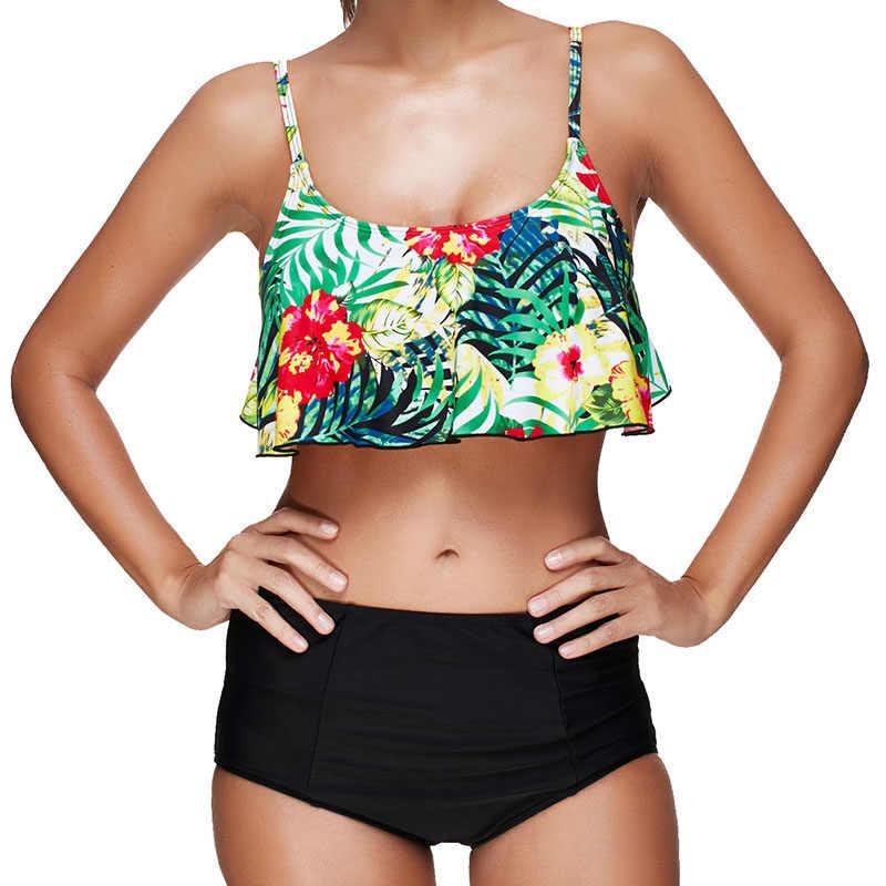 купальщик swimsuit купальники 2018 больших размеров Высокая талия высокая талия купальник женский пуш ап Бикини рюшами Большой Размеры для малышек large size swimwear мягкий комплект Biquine одежда для пляжа