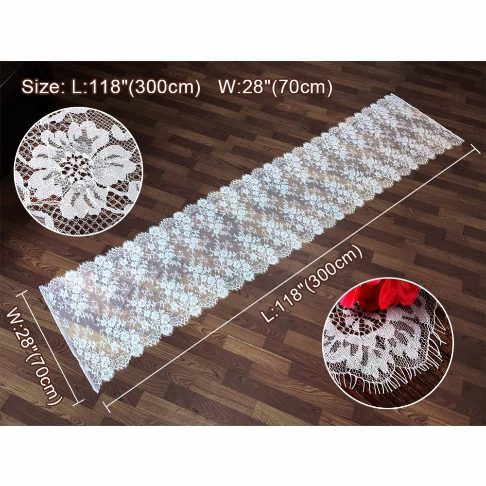 OurWarm Wedding Table Runner White Lace Floral Table Cloth Boho Wedding Table Decoration Home Textile 35x300cm 70 300cm in Party DIY Decorations from Home Garden