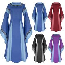 New Movie Cosplay Costume Middle Ages Women Square Neck Flare Sleeve Long Dress Medieval Renaissance Dresses Halloween Costumes