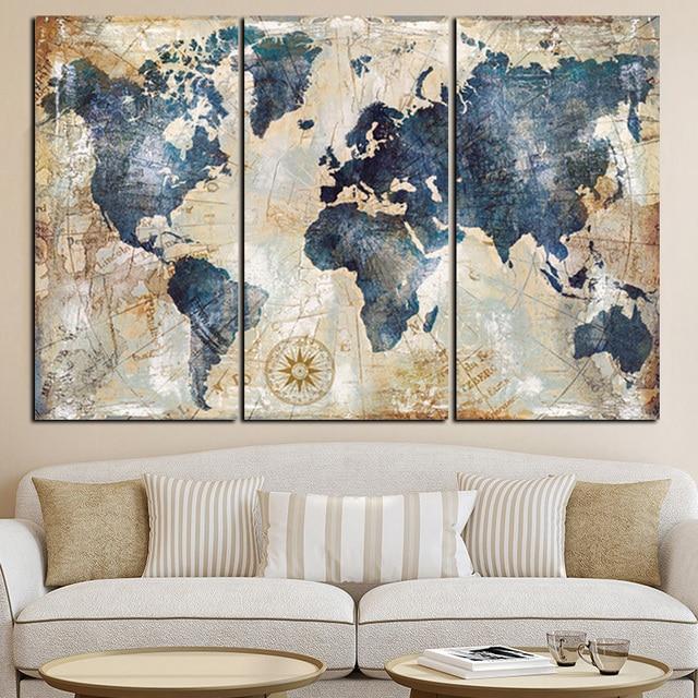 3 pannello di Pittura Ad Acquerello Mappa Del Mondo Modulare Poster e Stampe su