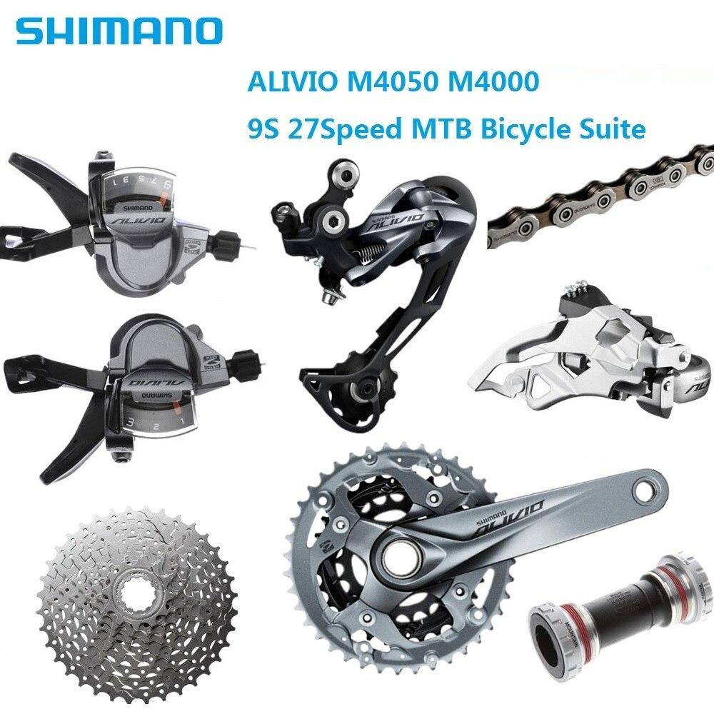 MTB Bike Shimano ALIVIO M4000 Suit M4050 T4060 Chain Wheel BB52 Axis M4000 thumb shifter Derailleur HG300 9S Flywheel HG53 Chain цены онлайн