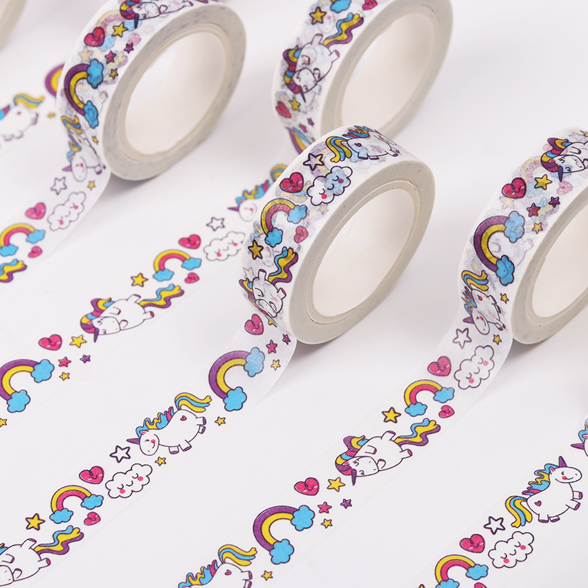 1Pcs 15mm*10m Box Package Unicorn Washi Tape Excellent Quality Colorful Paper Tape Cute Animal Washi Masking Tape