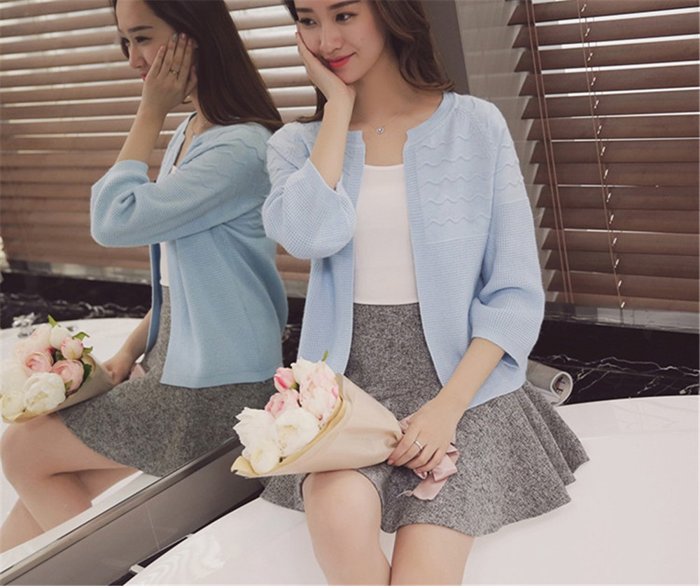 2016 Spring&Autumn Casual Sweater Women Cardigan Sweater Solid Color Open Stitch Women\'s Cotton Knitted Outerwear Sweater (22)