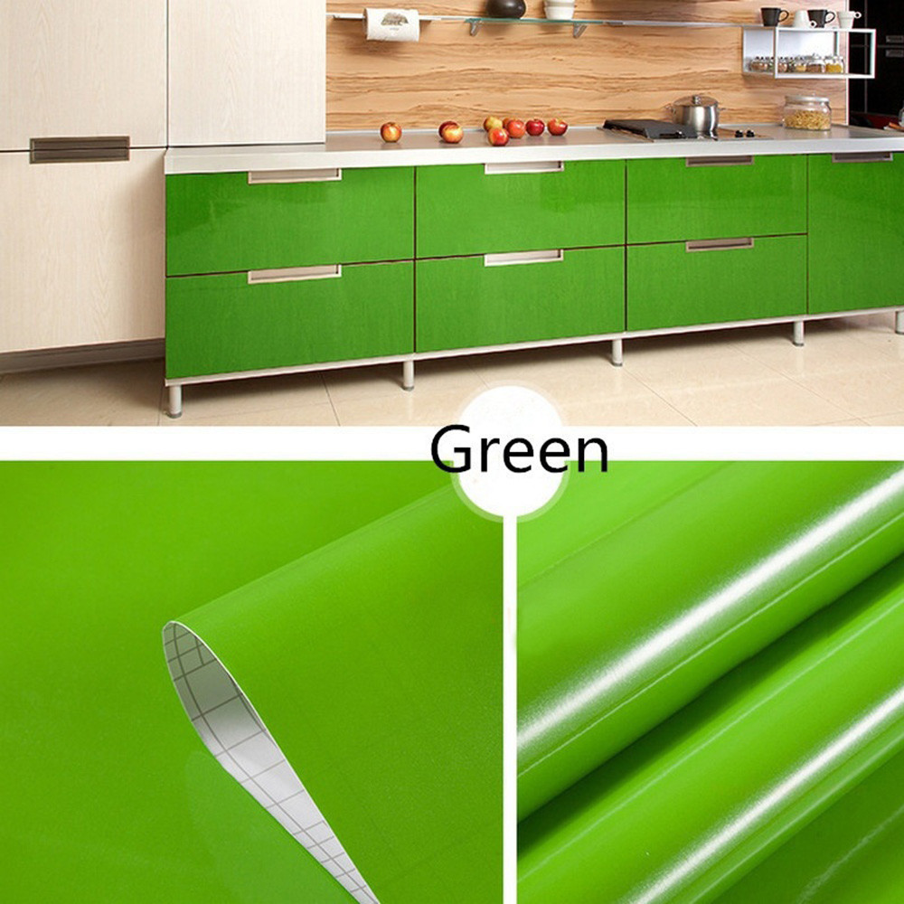Removable Wallpaper Green 13 Kind Color Waterproof Shiny Furniture Refurbished Stickers Home Kitchen Cupboard Shelf Drawer Decor Wall Stickers Aliexpress