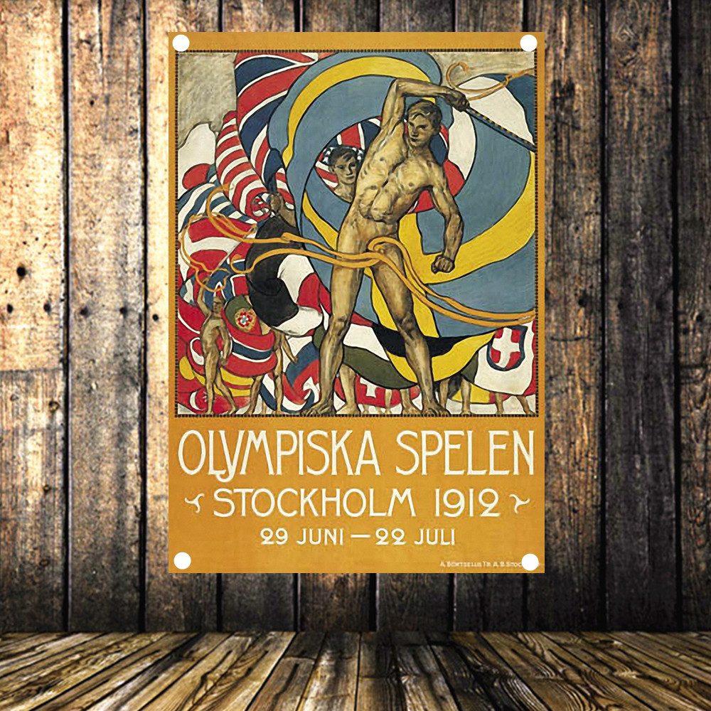 quot Stockholm Olympics in 1912 quot Large Vintage Sports Poster Banner Flag Tapestry HD Senior Art Cloth Painting Wall Chart Home Decor in Flags Banners amp Accessories from Home amp Garden