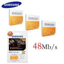 SAMSUNG SD Card 16G 32G 64G 48M/s C10 UHS-I EVO Memory Card Class 10 Flash Card for Digital Cameras